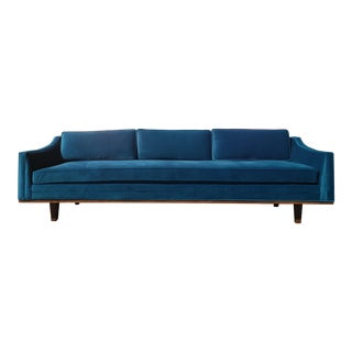 Mid Century Style Blue Velvet Sofa With Walnut Trim For Sale