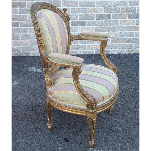 Fine Early 19th Century French Louis XVI Style Gilded Parlor Armchair For Sale In New York - Image 6 of 12