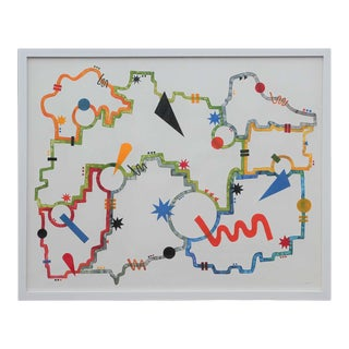 """2020 """"The Circuit"""" Abstract Geometric Watercolor Painting by Tina Ruyi, Framed For Sale"""