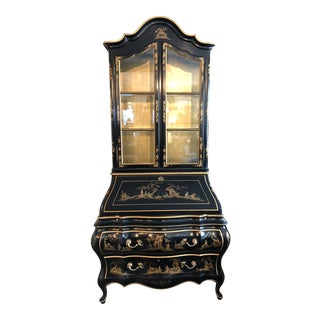 Union National Chinoiserie Lacquered Secretary Display Cabinet For Sale
