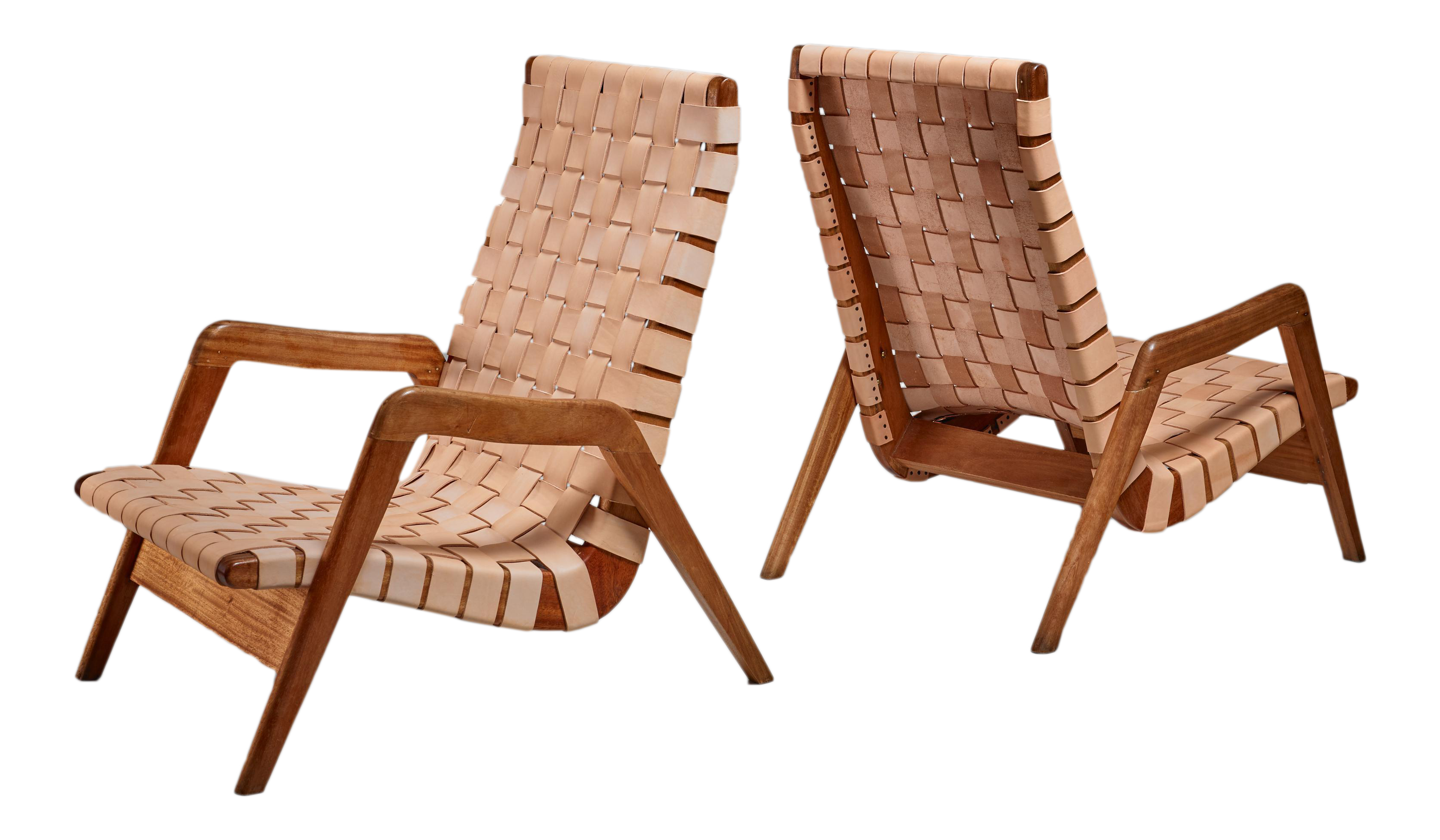 Pair Of Mexican Lounge Chairs With Leather Webbing, 1950s   Image 1 Of 4