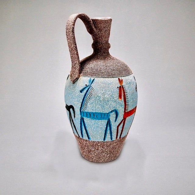 1970s Tall Italian Fratelli Fanciullacci Vase with Horses For Sale - Image 5 of 7