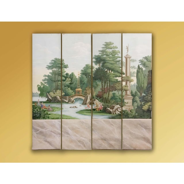 Vintage French Scenic 4 panel screen hand painted on canvas. .Landscape with pagoda, garden scenery, people playing,...