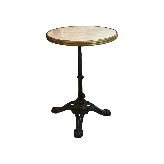 French Antique Cast Iron Bistro Cafe Table - Image 1 of 6