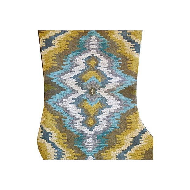 Custom Made Woven Ikat & Velvet Christmas Stocking - Image 3 of 4