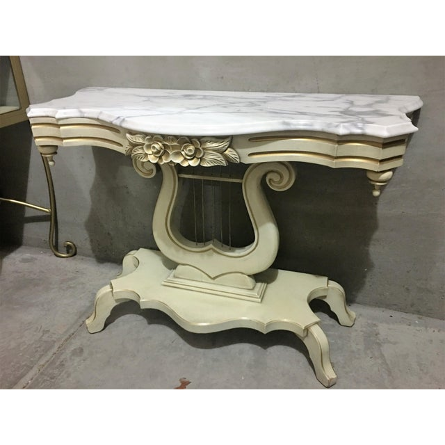 French Provincial French Provincial Marble Top Lyre Based Hall Table For Sale - Image 3 of 5