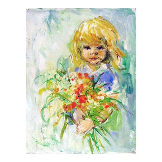 Flower Girl Painting by Barbara Mock For Sale