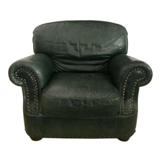 Italian Green Leather Arm Chair For Sale