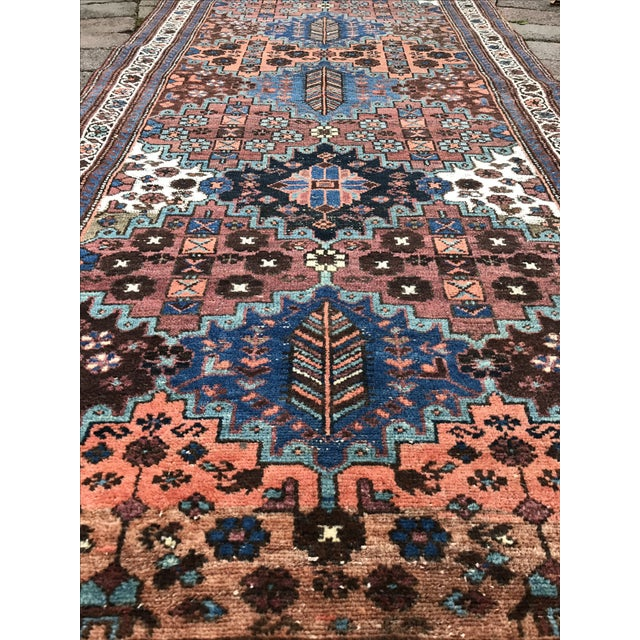 "Vintage Persian Heriz Runner - 3'6"" x 9'9"" - Image 4 of 10"