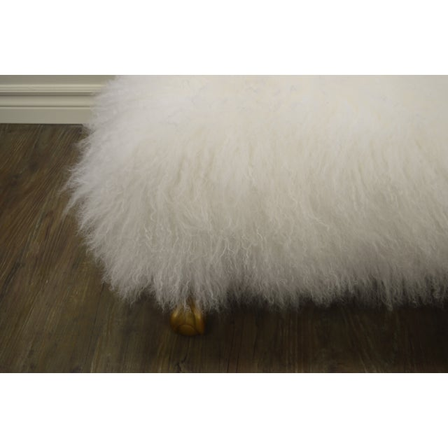 Ottoman Upholstered in a Curly White Lambs Wool Skin With Gilded Legs For Sale - Image 9 of 10