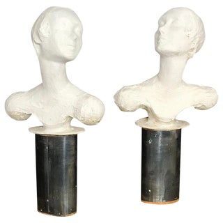 Pair of Painted Plaster Flapper Mannequin Busts For Sale