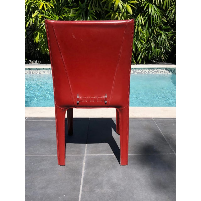 Italian 1970s Mid-Century Modern Italian Leather Dining Chairs- Set of 10 For Sale - Image 3 of 9