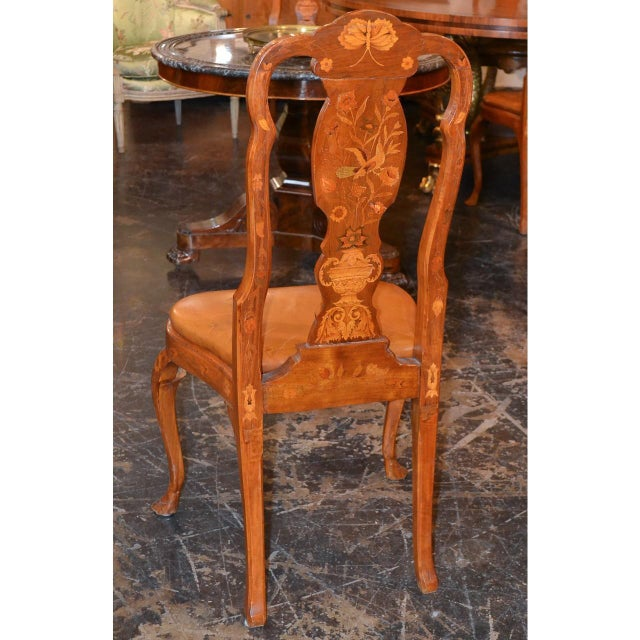 Satinwood Set of Six 19th Century Dutch Marquetry Inlaid Dining Chairs For Sale - Image 7 of 11