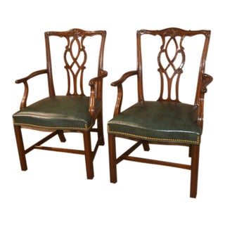 1960s Chippendale Kindel Solid Mahogany Arm Chairs - a Pair