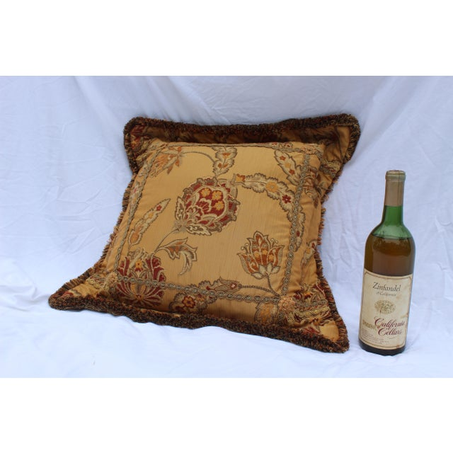 Beautiful Italian/Mediterranean Down pillow decorated with very fine double silk raised embroidery. Velvet inlays on an...
