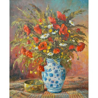 French Floral Still Life Oil Painting, H Pol For Sale