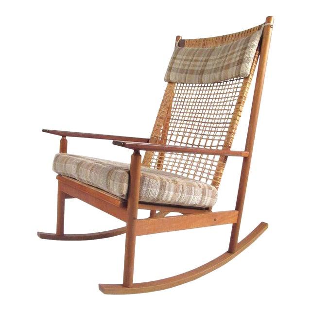 Vintage Hans Olsen Teak Rocking Chair With Cane Back For Sale
