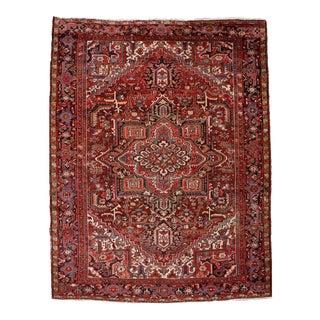 "Vintage Red Persian Heriz Rug- 8'3"" X 10'9"" For Sale"