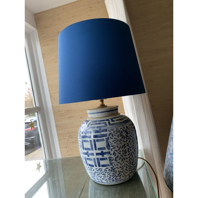 Blue & White Double Happiness Lamps - a Pair For Sale - Image 4 of 5