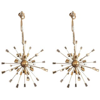 Pair of Brass Eighteen-Light Sputnik Chandeliers in the Mid-Century Modern Style For Sale