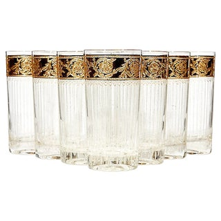1960s Floral Gilt Rim Glass Tumblers, Set of 8 For Sale