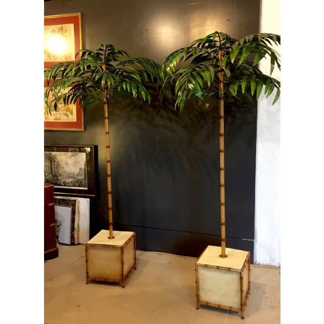 Pair of Tall Regency-Style Tole Palm Trees For Sale - Image 4 of 5