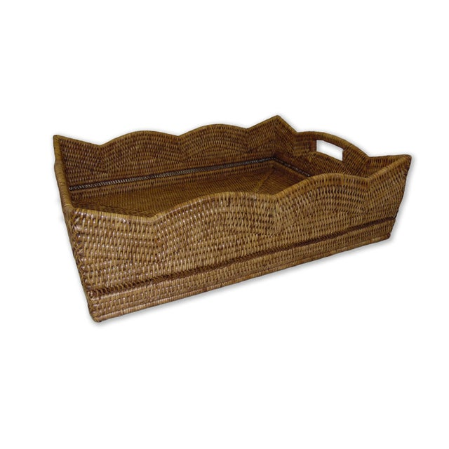 Boho Chic Artifacts Rattan Scallop Rectangular Basket For Sale - Image 3 of 3