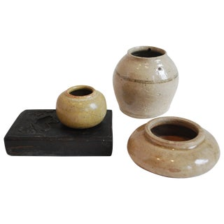 Collection of 19th-20th Century Japanese Calligraphy and Glazed Ceramic Vessels For Sale