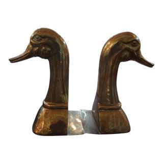 Vintage Sarreid Ltd Brass Duck Bookends - a Pair For Sale