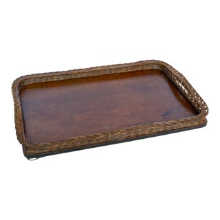 Mid 20th Century Vintage French Braided Wicker Wood Tray For Sale