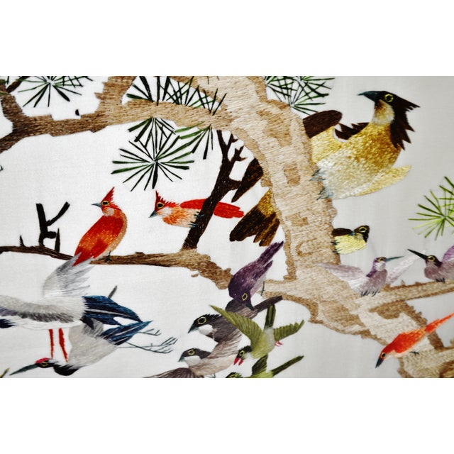 Vintage Framed 100 Birds Adore the Phoenix Chinese Silk Embroidery For Sale - Image 10 of 13