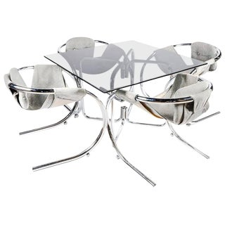 1970s Sculptural Byron Botker for Landes Chrome Dining Set - Set of 4 For Sale