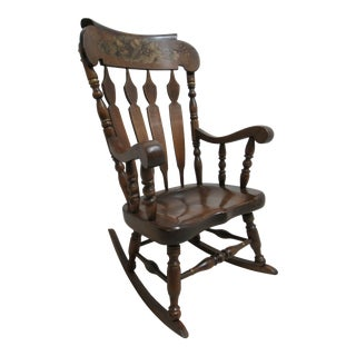 Vintage Rocking Chair LZ Kamman Co Pine Hitchock Paint Decorated For Sale