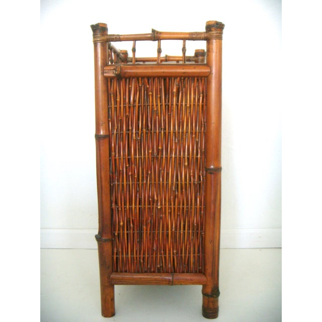 Vintage Oriental Bamboo Cane Storage Cabinet - Image 3 of 6