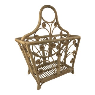 Boho Curly Wicker Magazine Rack