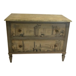 Hollywood Regency Hand Painted Two-Drawer Chest For Sale
