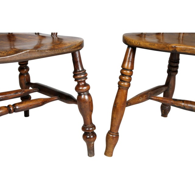 Traditional Set of Four Assembled Regency Yewwood Windsor Armchairs For Sale - Image 3 of 13