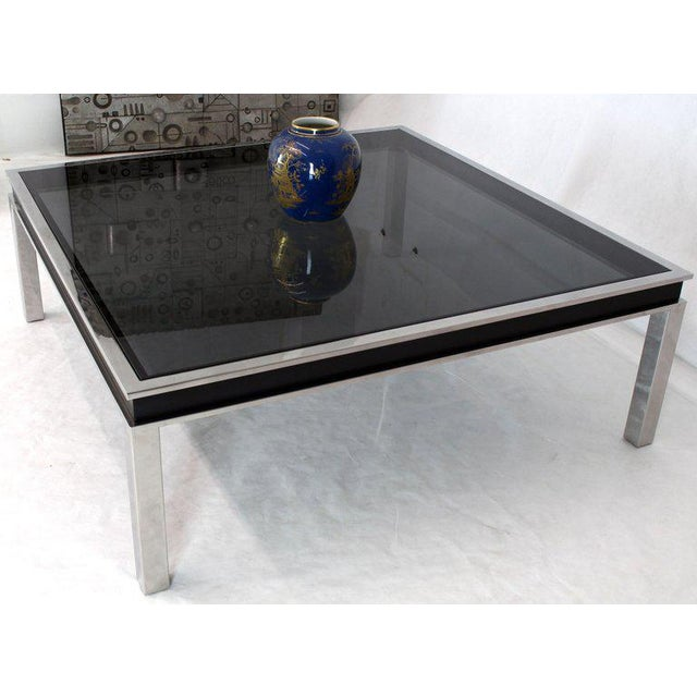 1970s 1970s Extra Large Polished Chrome Square Smoked Glass Coffee Table For Sale - Image 5 of 13
