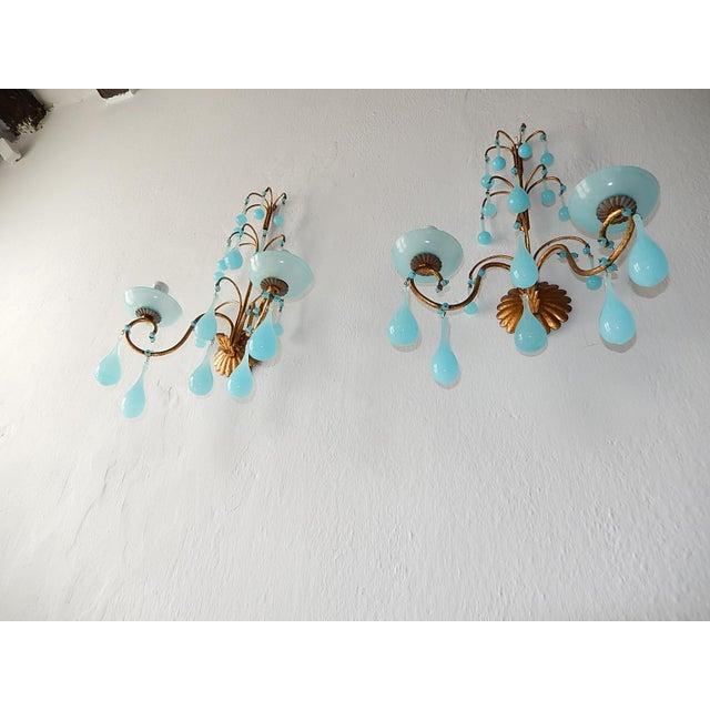 Art Nouveau 1920s French Blue Opaline Bobeches Drops & Beads Sconces - a Pair For Sale - Image 3 of 12