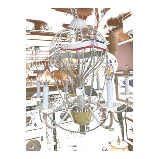 French Inspired Tole Metal Hot Air Balloon Chandelier For Sale