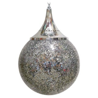 Crackled Mirrored Glass Globe Pendants by Fabio Ltd For Sale