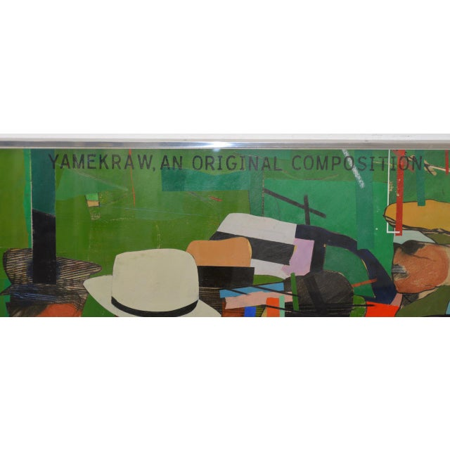 """Green Richard Merkin (1938-2009) """"Yamekraw, An Original Composition"""" Monumental Mixed Media Painting For Sale - Image 8 of 11"""