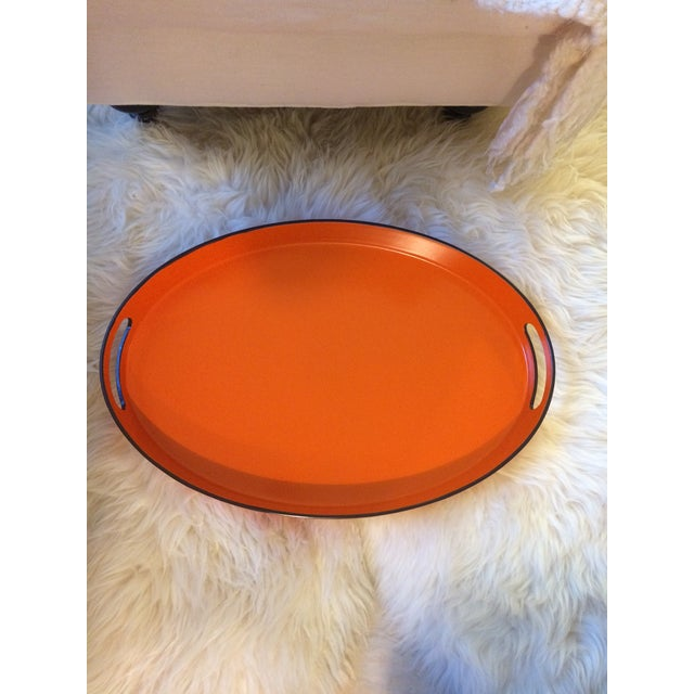 Orange Lacquer Oval Hermès Inspired Serving Tray - Image 2 of 12