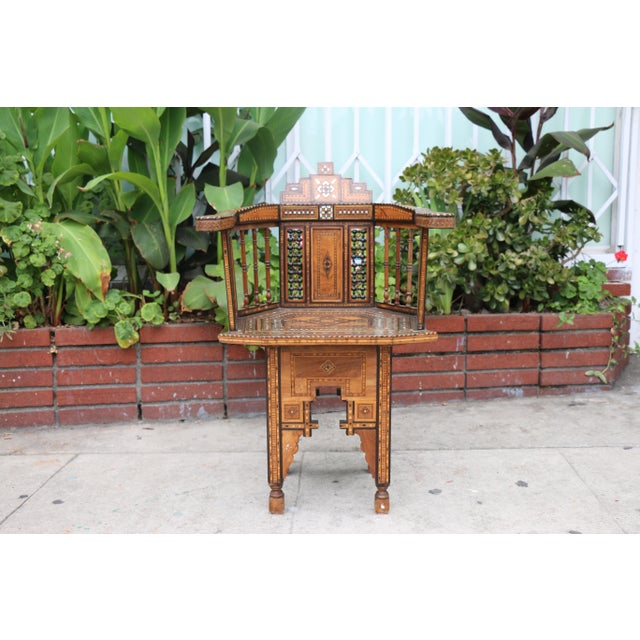 Beautiful well kept Moroccan chair. Excellent condition, paint is well taken care of as well. No damages or cracks on the...