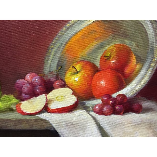 Red Apples, Grapes and Green Bottle Oil Painting - Image 2 of 4
