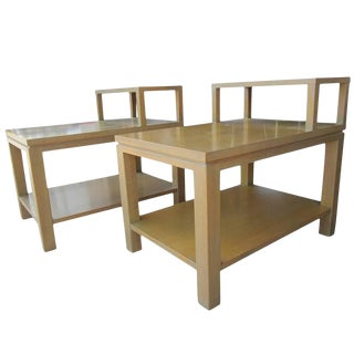 Set of Two Vintage Mid-Century Sligh 1536 Parquet Top Step Tables For Sale