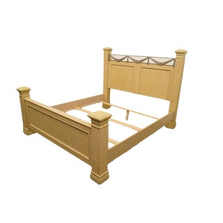 20th Century Traditional Stanley Furniture Blonde Four Poster King Size Bed For Sale
