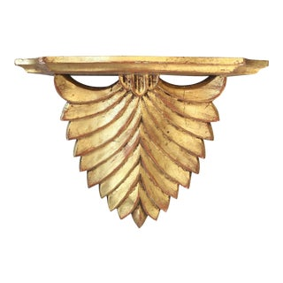 Vintage Italian Hollywood Regency Palm Gilt Wall Shelf