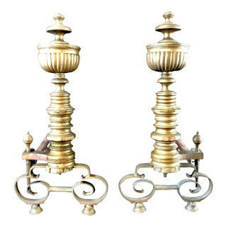 Antique 19th Century Solid Brass Andirons - A Pair For Sale