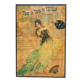 Antique Flamenco Dancer Poster Mounted on Board For Sale
